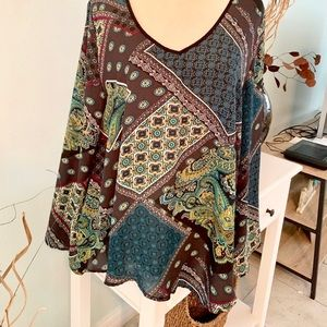 Chelsea & Theodore Multi Pattern Boho Inspired Top